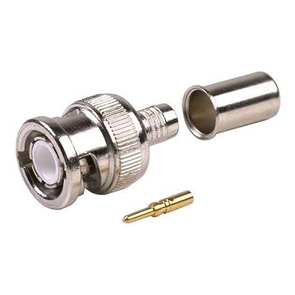[4 CONNECTORS] BNC Male Coax Connector for 50 Ohm RG8/X, Belden