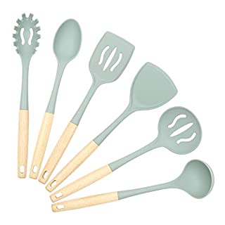 Silicone Kitchen Utensils Set, VICKITCHEN Cooking Utensil Set with Natural Wooden Handle Heat Resistance Cooking Tools for Nonstick Cookware 6 Pieces Green