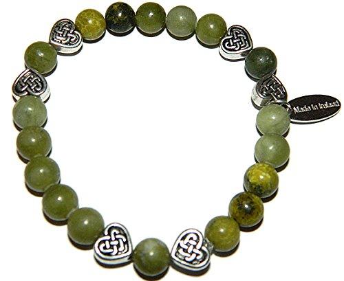 Irish Connemara Marble Celtic Heart Beaded Bracelet - Irish Connemara Marble