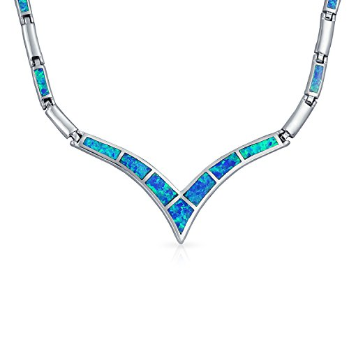 Geometric Blue Created Opal Inlay V Chevron Statement Collar Necklace For Women For Girlfriend 925 Sterling Silver ()