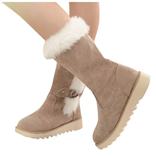 Womens Winter Snow Boot Fur Lined Mid Calf Short Boots Comfort Rubber Sole Cute Booties Flat Heels Ankle Boots