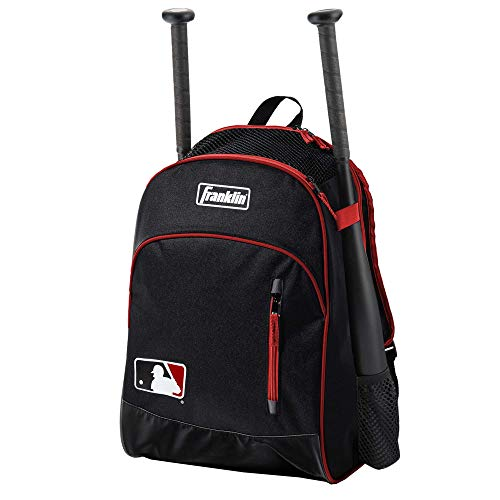 Franklin Sports MLB Batpack Bag - Youth Baseball, Softball and Teeball Bag - Equipment Bag For Sports - Bag Holds Bats (2) and Includes Fence Hook - Black/Red