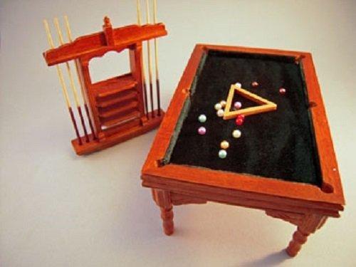 Aztec Imports, Inc. Dollhouse Miniature Antique Pool Table Set