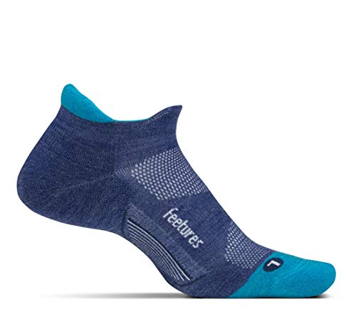 Feetures - Merino 10 Cushion - No Show Tab - Athletic Running Socks for Men and Women - Sapphire - Large
