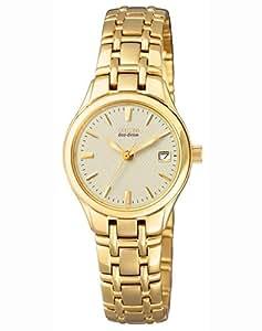 Citizen EW1262-55P - Reloj analógico de cuarzo para mujer, correa de acero inoxidable chapado color dorado (solar)