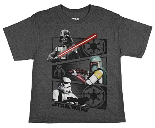 Disney Star Wars Darth Vader Boba Fett Stormtrooper Glow in The Dark Boy's T-Shirt (X-Large, 18/20) Charcoal Heather (Lego Star Wars 3 Ds All Characters)