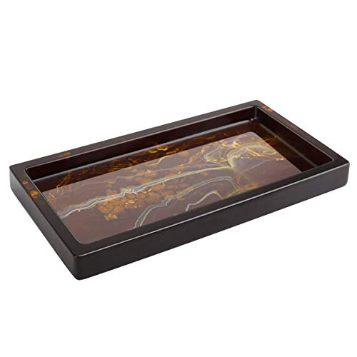 Luxspire Toilet Tank Storage Tray, Mini Bathroom Vanity Organizer Rectangular Resin Tray Plate Jewelry holder for Tissues, Candles, Soap, Towel, Plant, etc - Amber