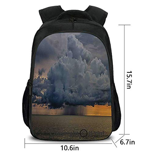 (Laptop Computer Backpack,Majestic Heavy Storm Rain Cloud Over Water at Sunrise Nature Meteorology Warning Design,School Bag :Suitable for Men and Women,School,Travel,Daily use,etc.Grey )