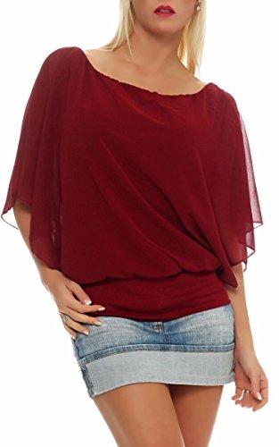 lgant malito Femme Bordeaux Oversize Blouse 6296 Taille Unique Tunique Loose Haut Rouge drOrxAFw