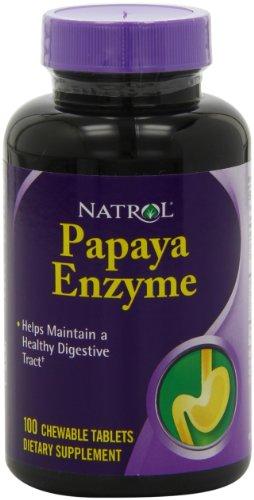 Tabletas masticables de Papaya de Natrol enzima, 100-Count (paquete de 2)