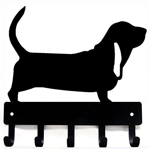 The Metal Peddler Basset Hound Key Rack/Dog Leash Hanger with 5 hooks - Small 6 inch wide