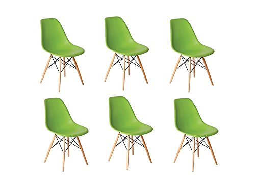 Green Inspirer Studio® Set of 6 New 17 inch SeatDepth Eames Style Side Chair with Natural Wood Legs Eiffel Dining Room Chair Lounge Chair Eiffel Legged Base Molded Plastic Seat Shell Top Side Chairs (Ribbed Black)