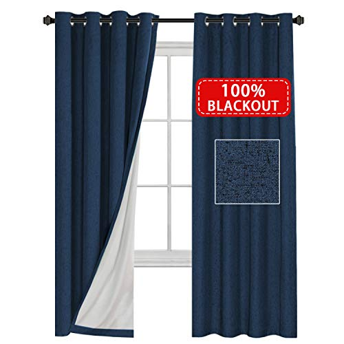 H.VERSAILTEX 100% Blackout Waterproof 2 Panels Decorative Blackout Thermal Insulated Textured Linen Look Curtains Easy Care Drapes for Patio, Extra Long Size W52 x L108- Inch- Navy