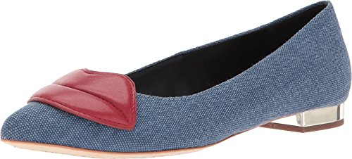 alice + olivia Women's Kaylee Lips Flats, Blue Denim, 37.5 EU (7.5 B(M) US Women)