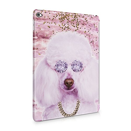 (Cute Pinkish Thug Life Poodle Diamond Eyes & Gold Chain Hard Plastic Tablet Case For iPad Air 2)