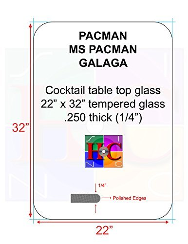 Replacement Tinted Cocktail Table Top Glass with 3.5 in Radius: Fits Bally/midway Tables Plus Aftermarket Arcade Cocktail Tables by (Midway Cocktail)