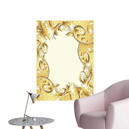 (Wall Decorative Frame Ornaments and Baroque Style Patterns Cream Golden Pictures Wall Art Painting,32