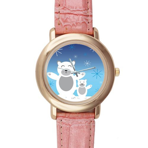 Gifts for Girls/Ladies Funny Cartoon Polar Bear Pink Leather Alloy Watch
