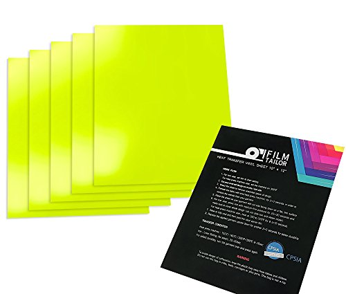 FilmTailor [PU HTV] 10'' x 12'' Heat Transfer Vinyl Basic 5 Sheets Excellent for T-Shirt, Hats and Any Fabric, Iron on for Silhouette Cameo, Cricut, Heat Press Machines (Neon Yellow) by FilmTailor