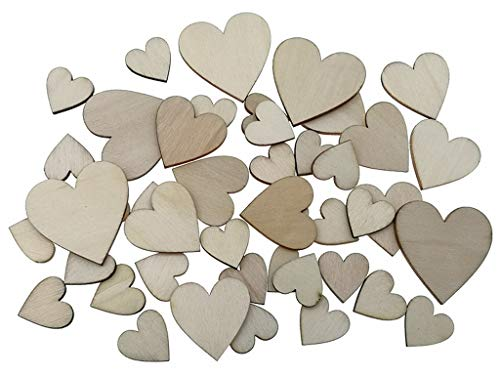 Kinteshun Natural Wood Unfinished Cutout Veneers Slices for Patchwork DIY Crafting Decoration(100pcs,Mixed Sizes,Love Heart Shape) ()