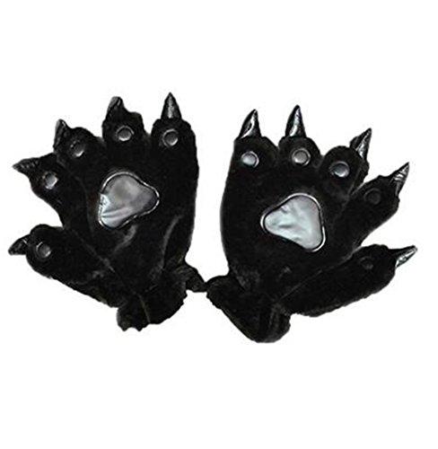 Costumes Claws (Axier Black Fashion Warm Unisex Plush Party Pet Panda Bear dinosaur mittens Cat Cartoon Animal Paw Claw Hand Gloves Women Men)