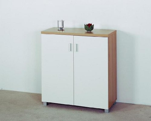 Kleiner Schrank In Noce Mit Hochglanz Türen In Vanille: Amazon.de ... Kleiner Badezimmerschrank