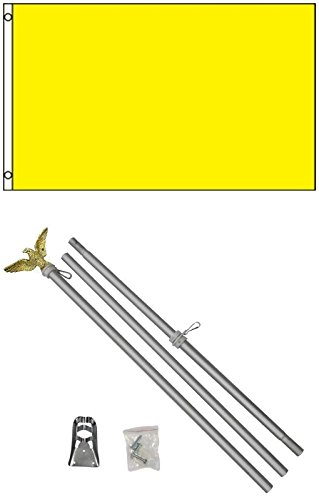 3x5 Solid Canary Yellow Color Business Flag w/ 6' Aluminum P