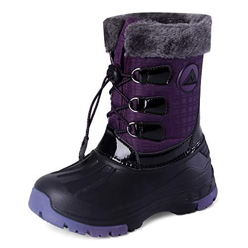 Nova Mountain Boys Girls Little Kids Winter Snow Boots,NF NFWBNN03 PurpleGrey 6