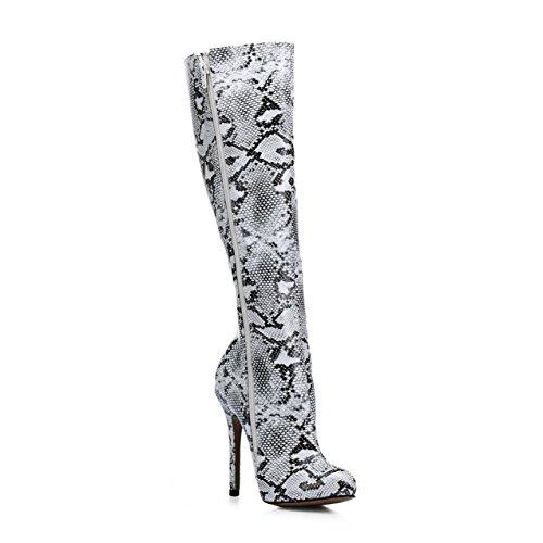 mesdames serpent chaussures Black amorce Goût girl peau et le démarrer fashion de de la la haut talon la haute xPPpYZqw