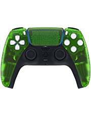 eXtremeRate Clear Green Touchpad Front Housing Shell for PS5 Controller, DIY Replacement Shell for PS5 Controller, Custom Touch Pad Cover Faceplate for Playstation 5 Controller