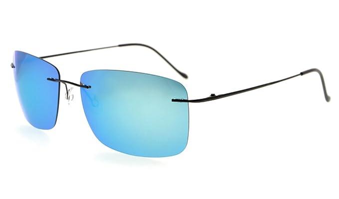 d94e69ebf37 Eyekepper Polarized Lens Sunreaders Titanium Rimless Sunglasses With TAC  (Blue Mirror)  Amazon.co.uk  Clothing