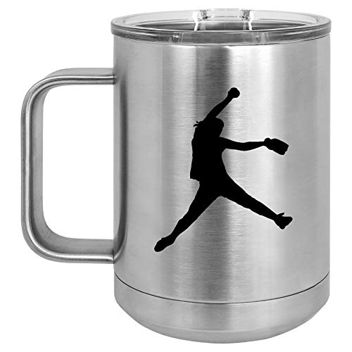 (15 oz Tumbler Coffee Mug Travel Cup With Handle & Lid Vacuum Insulated Stainless Steel Female Softball Pitcher (Silver))