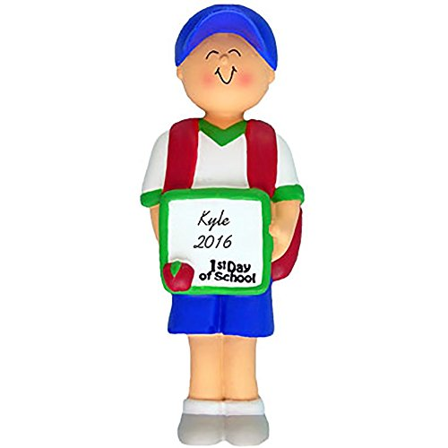 School Personalized (First Day of School Personalized Christmas Ornament - Kindergarten - Boy - Handpainted Resin - 4.5