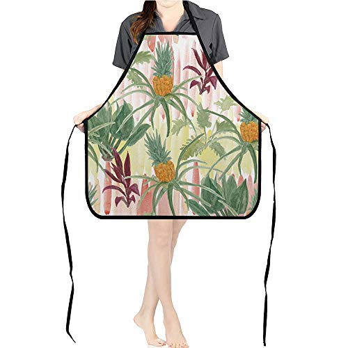 (Jiahong Pan Apron Men Women for Kitchen Paint Tropical Palm Trees b as pineapplaes Tropical Garden Cooking,Chef,BBQ, and Grill)