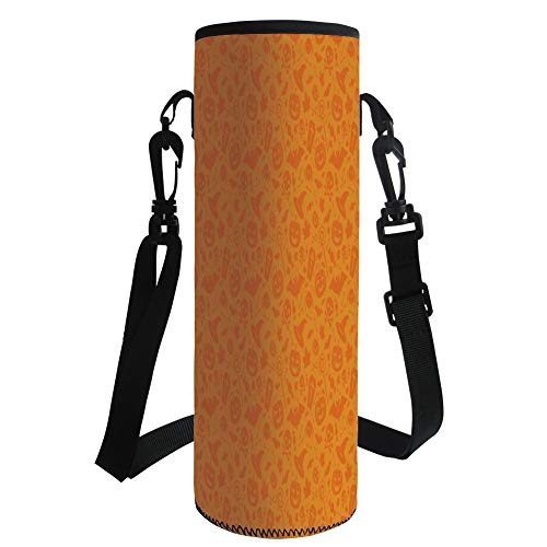 iPrint Water Bottle Sleeve Neoprene Bottle Cover,Halloween Decorations,Monochrome Design with Traditional Halloween Themed Various Objects Day,Orange,Fit for Most of Water Bottles