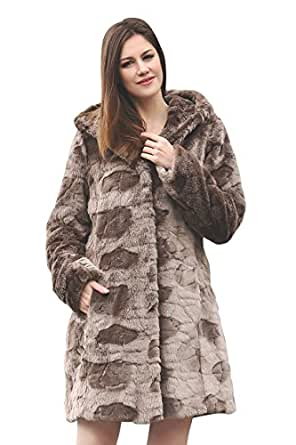 Adelaqueen Faux Fur Coat Jacket Women Brown Hoodie Long