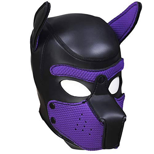 Kom Waire Full Face Animal Head Masks Hood for Halloween Costume Play (Purple)]()