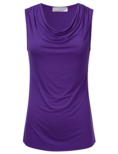 FLORIA Womens Cowl-Neck Ruched Draped Sleeveless Stretchy Blouse Tank Top Purple M