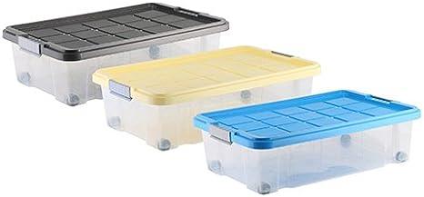 axentia 235878 - Caja de plástico con Ruedas (60 x 40 x 18 cm, 28 ...