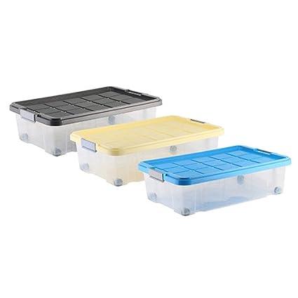 axentia 235878 - Caja de plástico con ruedas (60 x 40 x 18 cm,