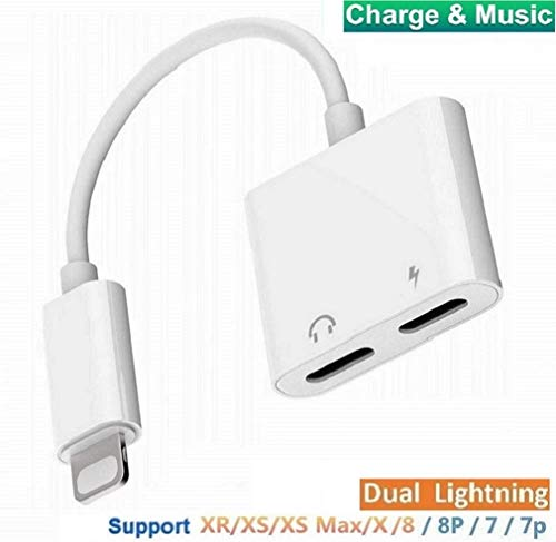Headphone Adapter Compatible for iPhone XR Adapter [Audio+Charge+Call+Volume Control ] Dual Ports Adapter Splitter Compatible for iPhone XS/Xmax/XR/X/8/8p/7/7p