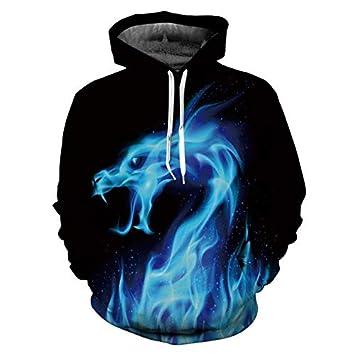 Hot Fashion Hoodies Men/Women 3D Sweatshirts Print Fire Dragon ...