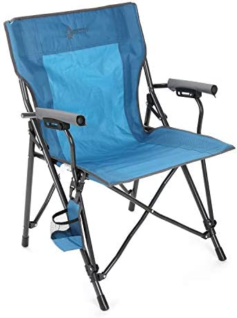 ARROWHEAD OUTDOOR Portable Solid Hard-Arm High-Back Folding Camping Quad Chair, Heavy-Duty Carrying Bag