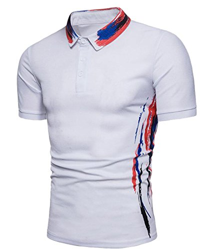Bravepe Mens Summer Short Sleeve Ink Contrast Business Slim Fit Polo Shirt Tee Top White XL