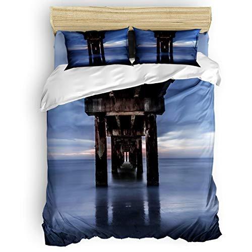 (EZON-CH 4 Piece Duvet Cover Set Kids Bedding Set Bedroom Collection,Dilapidated Bridge Pier On The Sea Soft Child Bed Sheet Set,Include 1 Duvet Cover 1 Bed Sheets 2 Pillow Cases)