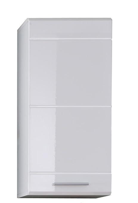 trendteam Badezimmer Hängeschrank Wandschrank Mezzo, 37 x 77 x 31 cm in  Weiß Hochglanz mit viel Stauraum