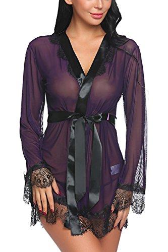 52bb6e440e ADOME Women Lingerie Eyelashes Lace Kimono Satin Sleepwear Short Babydoll