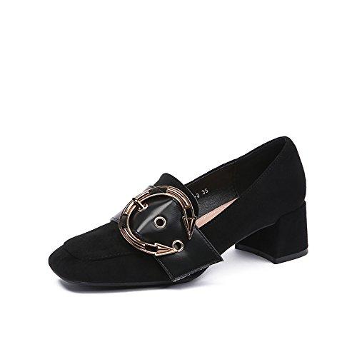 selvaggia Calzature Donna partito le scarpe singolo denso Nero luce Angrousobiu High e nella ragazza Retrò Heel Calzature del con axwnfgAT