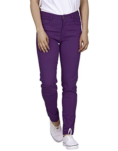 (HDE Women's Mid-Rise Stretchy Denim Slim Fit Skinny Jeans (Purple, Large))