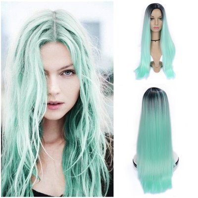 Image Unavailable. Image not available for. Color  Anime Light Green Wigs  Synthetic Long Curly Women ... a0f7be7f45